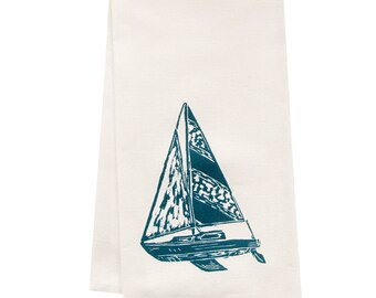 ORGANIC sailboat tea towel block print design