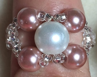 Pink and White Woven Bead Ring