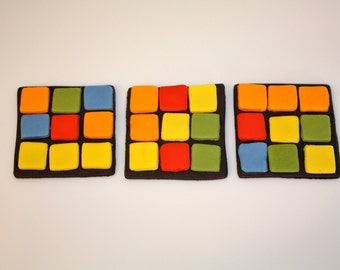 80S RUBIX CUBE -  Fondant Cupcake, and Cookie Toppers - 1 Dozen