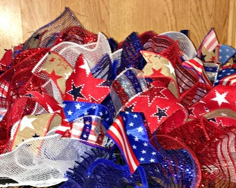 4th of July Centerpiece, Patriotic table centerpiece, patriotic decor, holiday centerpiece, 4th of July, Red White and Blue, Summer
