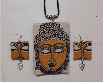 Handmade Fabric Buddha with Silver Leaf Charm Pendant Set