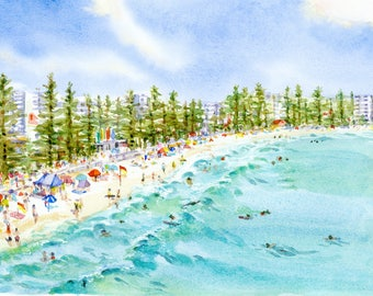 "Manly Beach Watercolour Painting - Print titled, ""Manly Beach"", Sydney, Australia, Sea, Manly Australia, Beach Decor, Print, Watercolor"