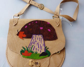 Whimsical mushroom leather bag, special key holder, , regalia, hippie purse, woodstock, pow wow,