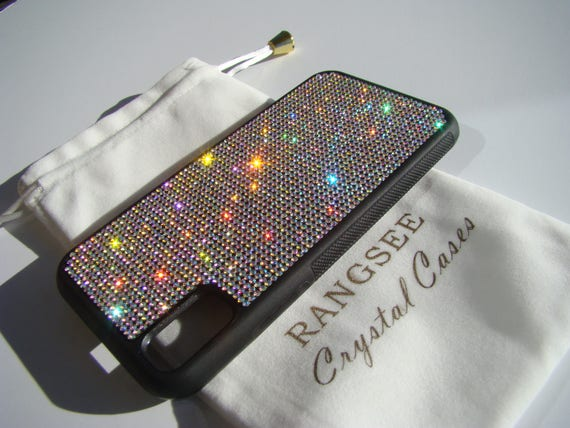 iPhone X Case , Crystal AB  Rhinestone Crystals on Black Rubber Case. Velvet/Silk Pouch Bag Included, .
