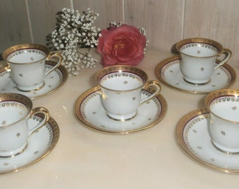 Antique french Demitasse Cups And Saucers By Limoges 5 Mocha / / Vintage Limoges porcelain 5 cups Moka Empire gold and Red / / French Chic
