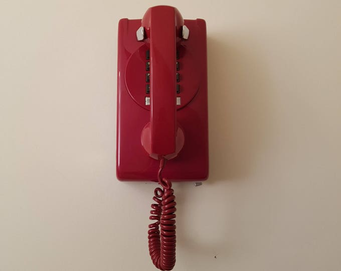 Red Northern Electric Touch Tone Wall Phone