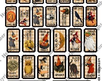 Vintage Halloween Pumpkin Moon Witch Tickets Digital Collage sheet Printable