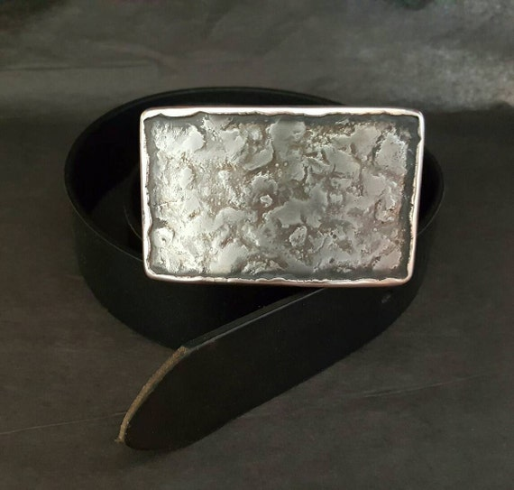 """Silver Anvil Textured Man Belt Buckle Hand Forged Hypoallergenic Unisex Stainless Steel & Bronze Belt Buckle for 1.5"""" Leather Belt for Jean"""