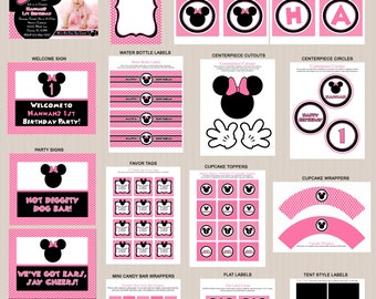Minnie Mouse Birthday Party Printables, Printable Minnie Mouse Decorations, Polka Dots, Pink, Black, Invitation Included, Printable PDFs