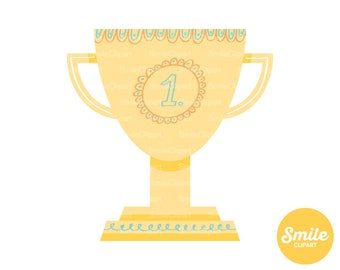 Gold Trophy Clipart Illustration For Commercial Use