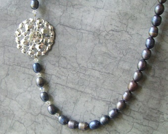 SALE Midnight Blue Vintage button and Pearl Necklace