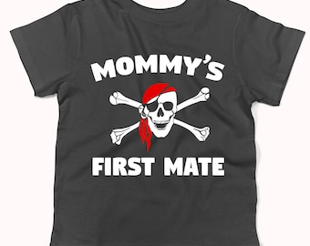Mommy's First Mate Pirate Skull And Crossbones Baby T-Shirt