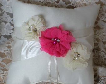 Cream or White Ring Bearer Pillow Hot Pink Chiffon Flower Accented with Rhinestone and Pearls