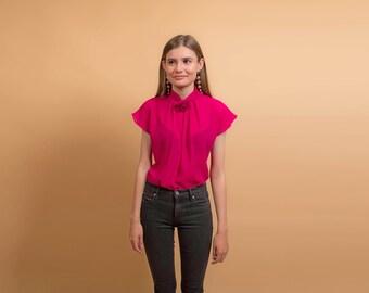 Vintage Sheer Blouse / Vintage 70s Blouse / Mandarin Collar / Fuchsia Blouse Δ size: XS/S