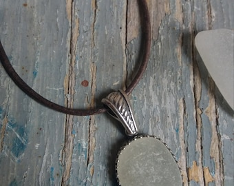 White Seaglass Sterling Silver Necklace