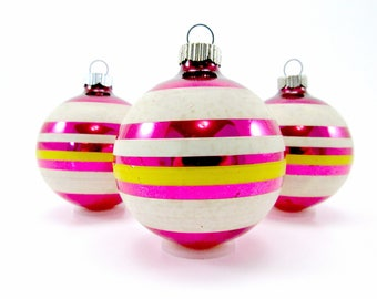 Vintage Pink Shiny Brite Christmas Decorations 1950s Glass Christmas Decorations Baubles