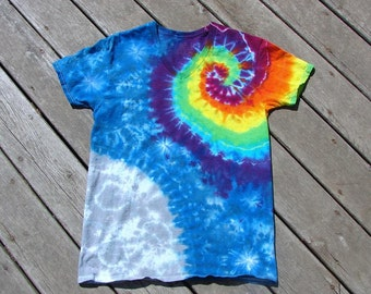 Rainbow Spiral Tie Dye Moon Galaxy - Adult (Medium) V-Neck Undershirt