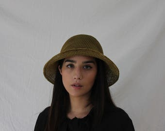 Olive Green Floppy Mesh Sun Hat - Vintage - Net Hat