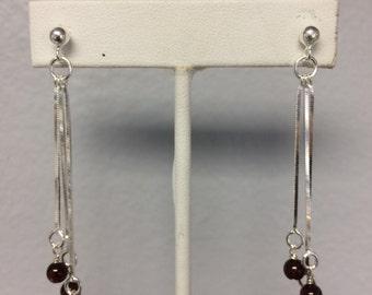 Garnet Cluster Sterling Silver Dangle Earrings