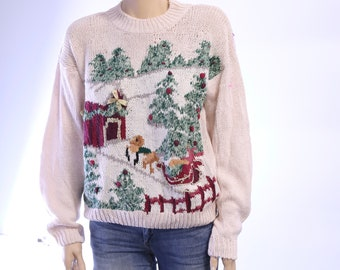 Vintage Christmas Sweater. Gift for Her. Vintage Sweater. Vintage Holiday Sweater. Ugly Sweater Party.