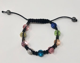Multi Color Beaded Bracelet with Crystal Balls