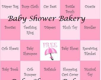 Pink Umbrella Baby Shower Game, Pink Umbrella Theme Baby Shower Bingo Game for Girl, Printable Girl Rain Shower Baby Shower Theme Game Pink