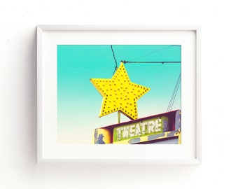 """retro sign, neon sign, mid century modern, vintage sign, large art, large wall art, canvas art, large canvas art, art - """"The Star Theatre"""""""