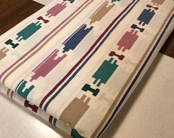 Vintage 1980's Cannon Twin Flat Sheet with Indian Design