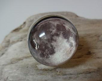 Full Moon Ring - Handmade - Snow Globe Ring - Moon Ring - Space Jewelry - SuperMoon - Moon - Full Moon - Moon & Stars Jewelry - Photo - NASA