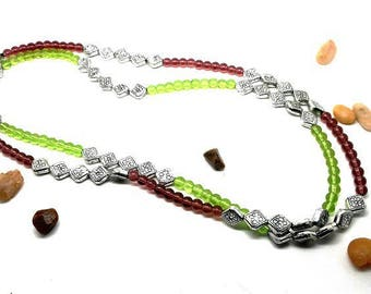 Necklace one or two strands, silver, green and Brown beads