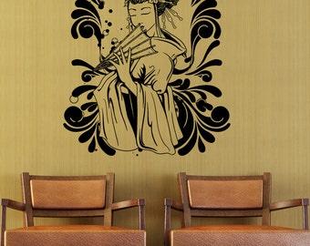 Vinyl Wall Decal Sticker Japanese Geisha Design 1366m