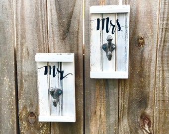 His Hers Towel Hook, Key Hook, Rustic Bathroom Towel Holder - Set of 2