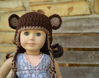 Doll Beanie Hat - Monkey Fun - Crocheted Beanie with Ear Flaps -  MADE TO ORDER - fits American Girl and 18 inch Dolls