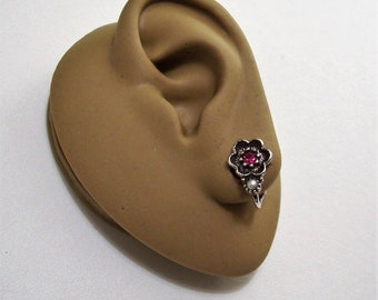 Avon Pink Stone Pearl Flower Clip On Earrings Silver Tone Vintage 1974 Rosegay Black Accented