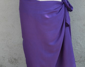 Dark purple, Violet color-Pareo-solid color-full and half sized-rayon- sarong, pareau