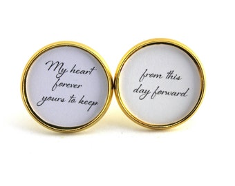 Wedding Vows Groom Gift Cufflinks for Groom Cuff links Wedding Day Gift From this Day Forward Wedding Vow Keepsake Wedding Keepsake Bride