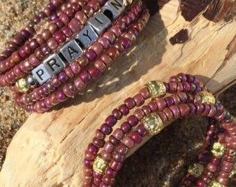 Stackable bracelets, Prayin bracelets, custom word bracelets, word bracelets, wire bracelets, fun bracelets, purple braclets, word bead