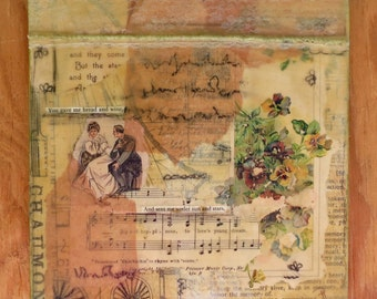 """Mixed Media Collage One of a Kind Original Art Wall Decor """"Song Three"""""""