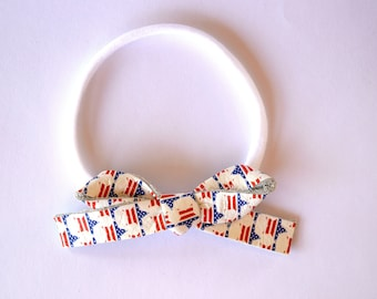 Star Spangled LARGE Leather Bow One Size Fits All Elastic Blessing Baptism Photo Prop for Newborn Baby Little Girl Child 4th of July Bow