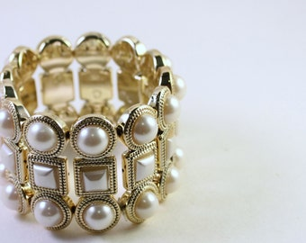 Metallic Gold Plated Acrylic Beaded Bracelet, Double Strand, Cream Pearl, Wholesale Bead Supplies