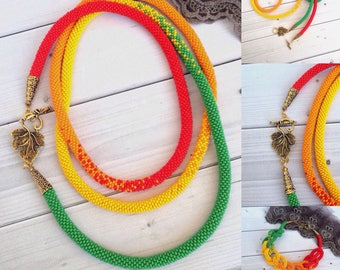 Multicolor necklace Summer necklace Gift for mom Chakra necklace Long Seed Beaded  Lariat Transformer Beadwork necklace Gift for woman