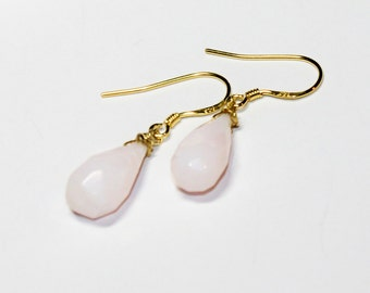 Pink Opal Teardrop Earrings - Sterling Silver Earwires - Gold Plated Sterling Silver Earwires - October's Birthstone - Cottage