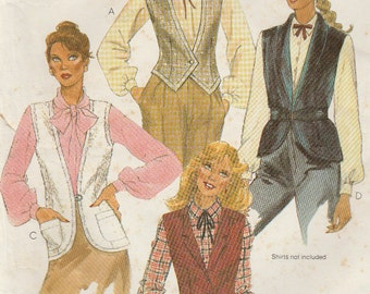 McCall's 7257 Sewing Pattern, Misses Vest, Buttoned Front, Lapel, Patch Pockets, Size 14, Bust 36, Used Vintage  Pattern