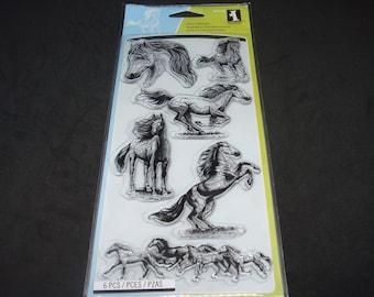"Inkadinkado- Clear Stamp Set- 4"" x 8""- 6 piece set ""Horses"""