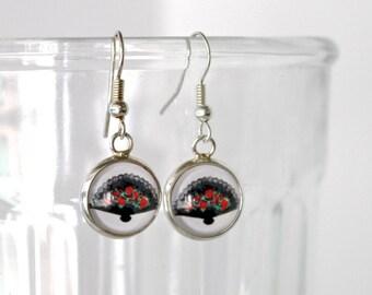 Flamenco Fan earrings. Whimsical spanish fan drop earrings. Cute fan art glass dangle earrings. Spanish jewelry. Flamenco fan lover gift.