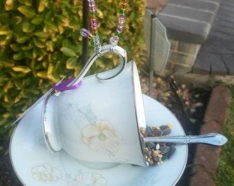 Teacup Bird Feeder / Garden Art - Demitass Spoon Perch - Noritake Murmur Pattern