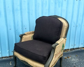 Chair in French Bergere Style Handmade with Coffee Sack Burlap Jute