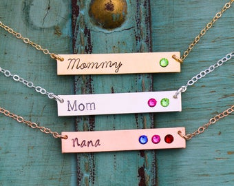Mother Gift Mom Necklace Birthstone Bar • Name Custom Nameplate Necklace Mother's Day Gift • Kid Birthstone Jewelry Name Mom Birthday BS_18