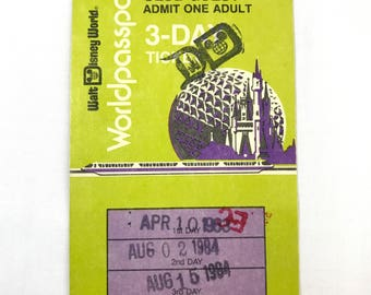 Vintage 1980s Magic Kingdom Club Guest 3 Day Adult Used Admission Ticket World Passport From Walt