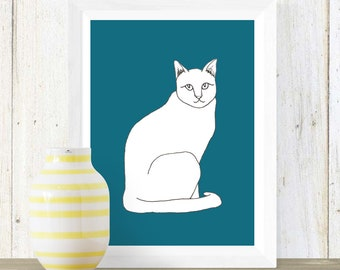 Cat Drawing Art Print in teal or white | Cat lover gift